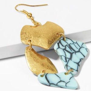 Jewelry - Metal and Marble Pattern Drop Earrings